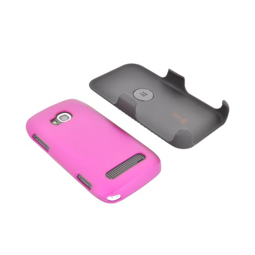 Premium Nokia Lumia 710 Rubberized Holster and Case Combo w/ Screen Protector, Swivel Belt Clip, & Stand - Black/ Rose Pink