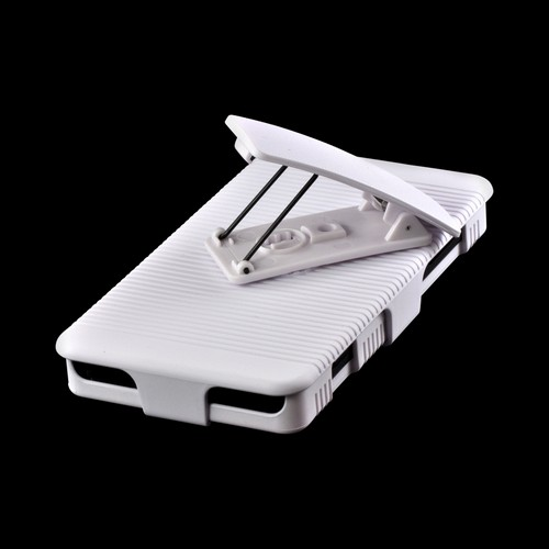 White Rubberized Hard Case Holster Combo w/ Kickstand & Swivel Belt Clip for Nokia Lumia 810