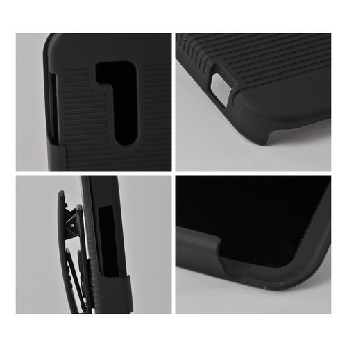 Black Rubberized Hard Case Holster Combo w/ Swivel Belt Clip & Stand for Nokia Lumia 822