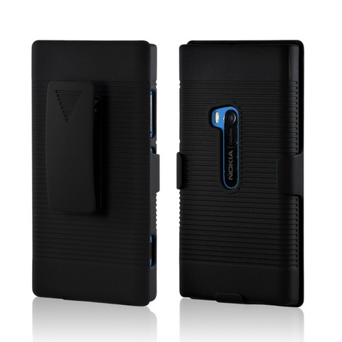 Black Rubberized Hard Case Holster Combo w/ Kickstand & Belt Clip for Nokia Lumia 920