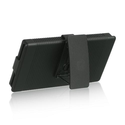 Black Rubberized Hard Case Holster Combo w/ Kickstand & Swivel Belt Clip for Nokia Lumia 928