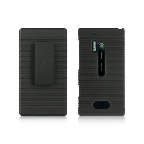 Manufacturers Black Rubberized Hard Case Holster Combo w/ Kickstand & Swivel Belt Clip for Nokia Lumia 928 Silicone Cases / Skins