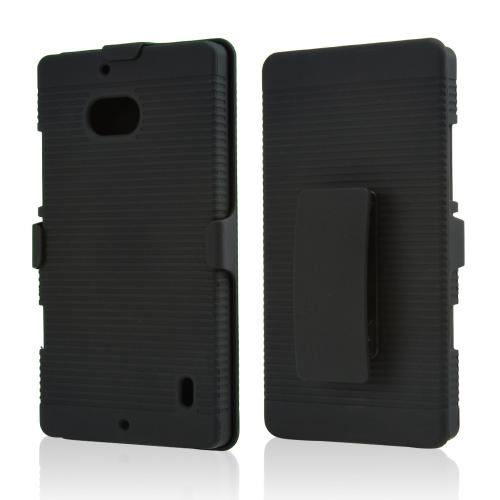 Black Rubberized Hard Case & Holster Combo w/ Kickstand & Swivel Belt Clip for Nokia Lumia Icon