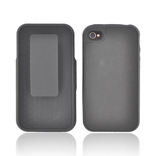 AT&T/ Verizon Apple iPhone 4, iPhone 4S Shel-Tek Series Rubberized Hard Case w/ Screen Protector & Holster Combo - Black Waves