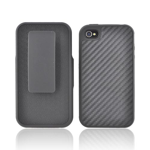 Apple iPhone 4/4S Shel-Tek Series Black Carbon Fiber Design Rubberized Hard Case Over Silicone Skin Holster Combo