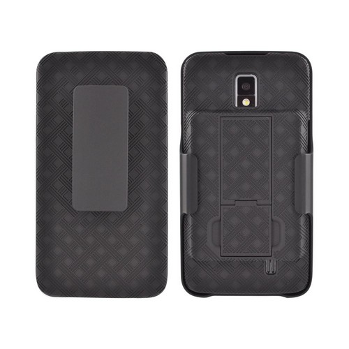 Pantech Breakout Rubberized Hard Case Stand w/ Holster & Swivel Belt Clip - Black