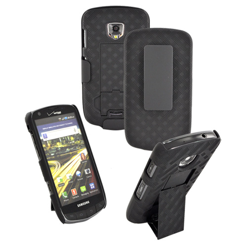 Original Verizon Samsung Droid Charge Rubberized Hard Case w/ Kickstand & Holster Combo - Black