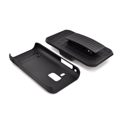 Samsung Conquer 4G Rubberized Hard Case w/ Holster & Kickstand - Black