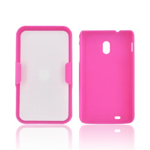 Samsung Epic 4G Touch Rubberized Hard Case w/ Holster Stand - Hot Pink