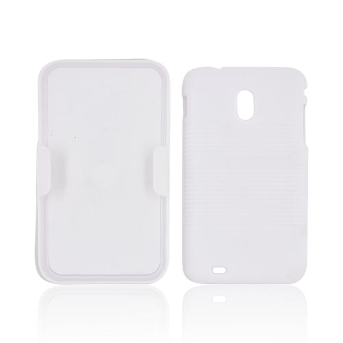 Samsung Epic 4G Touch Rubberized Hard Case w/ Holster Stand - Solid White
