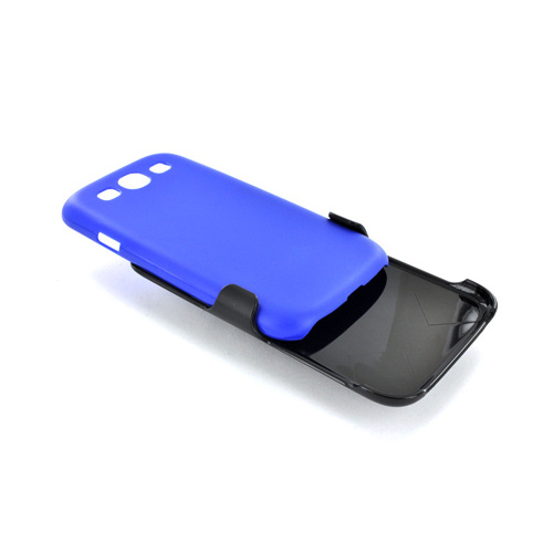 Samsung Galaxy S3 Holster & Case Combo w/ Screen Protector, Belt Clip & Stand - Blue/ Black