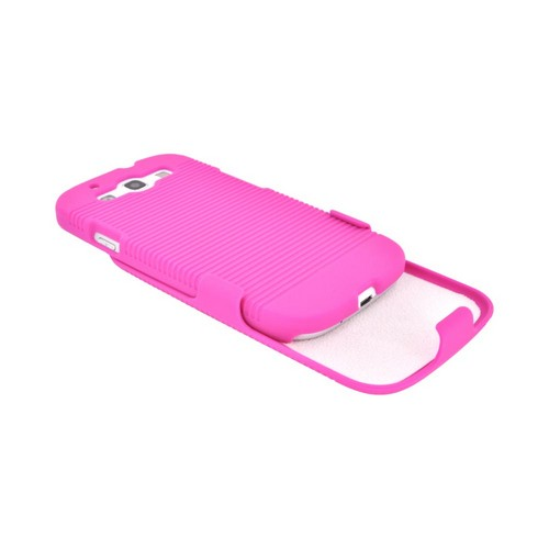 Samsung Galaxy S3 Rubberized Hard Case & Holster Combo w/ Belt Clip & Stand - Hot Pink