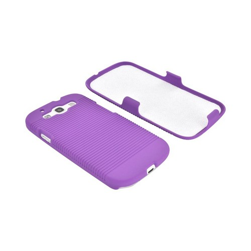 Samsung Galaxy S3 Rubberized Hard Case & Holster Combo w/ Belt Clip & Stand - Purple