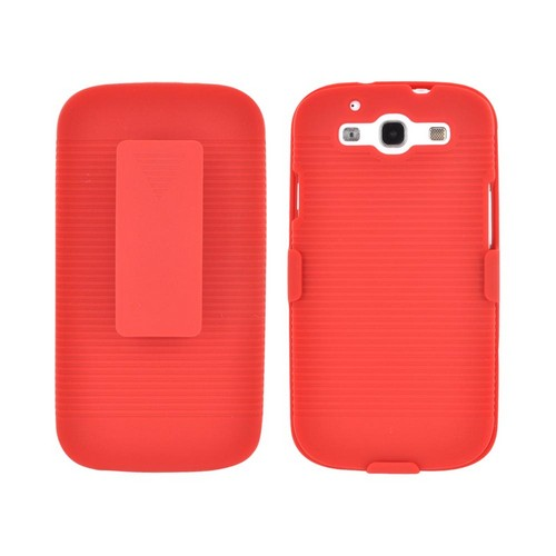 Samsung Galaxy S3 Rubberized Hard Case & Holster Combo w/ Belt Clip & Stand - Red