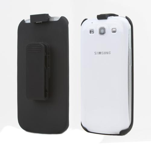 Black Rubberized Holster w/ Swivel Belt Clip for Samsung Galaxy S3