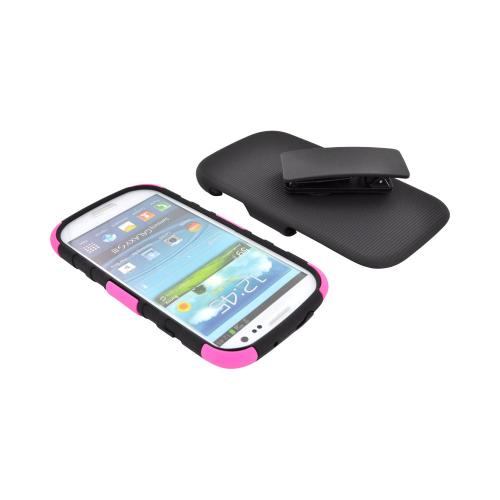 Samsung Galaxy S3 Hard Cover Over Silicone Case w/ Stand & Holster Stand w/ Swivel Belt Clip - Pink/ Black