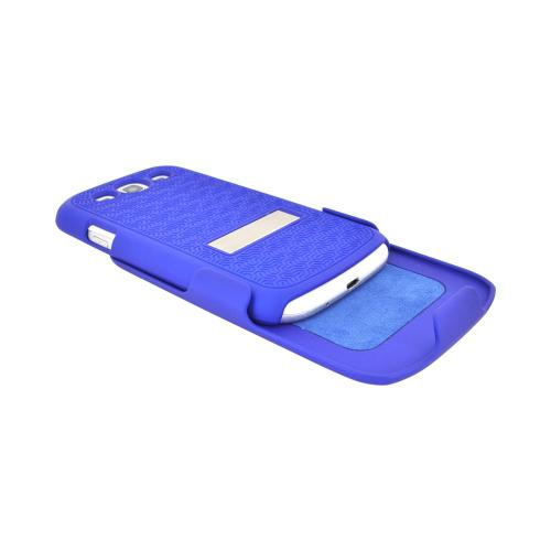 Samsung Galaxy S3 Rubberized Hard Case w/ Metal Kickstand & Holster Combo - Textured Blue