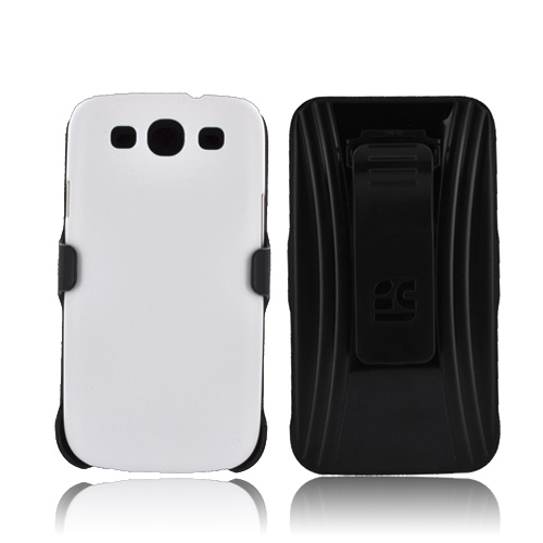 Samsung Galaxy S3 Holster & Case Combo w/ Screen Protector, Belt Clip & Stand - White/ Black