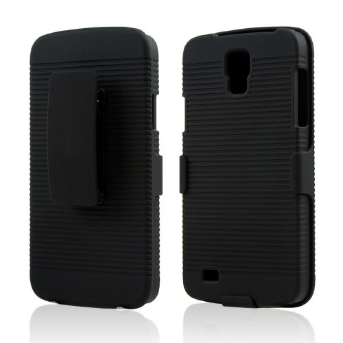 Black Rubberized Hard Case & Holster Combo w/ Kickstand & Swivel Belt Clip for Samsung Galaxy S4 Active