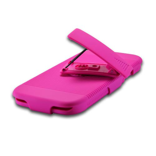 Hot Pink Hard Case & Holster Combo w/ Kickstand & Swivel Belt Clip for Samsung Galaxy S4