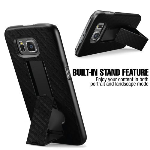 Samsung Galaxy S6 Case, REDshield [Black]  Supreme Protection Slim Matte Rubberized Hard Plastic Case Cover with Kickstand and Swivel Belt Clip