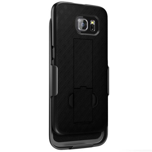 Samsung Galaxy S6 Case,  [Black]  Supreme Protection Slim Matte Rubberized Hard Plastic Case Cover with Kickstand and Swivel Belt Clip