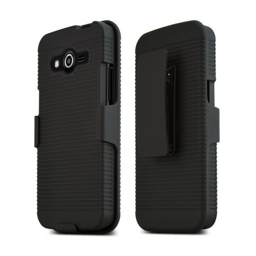 Manufacturers Black Samsung Galaxy Avant Hard Case & Holster Combo w/ Kickstand & Swivel Belt Clip Hard Cases