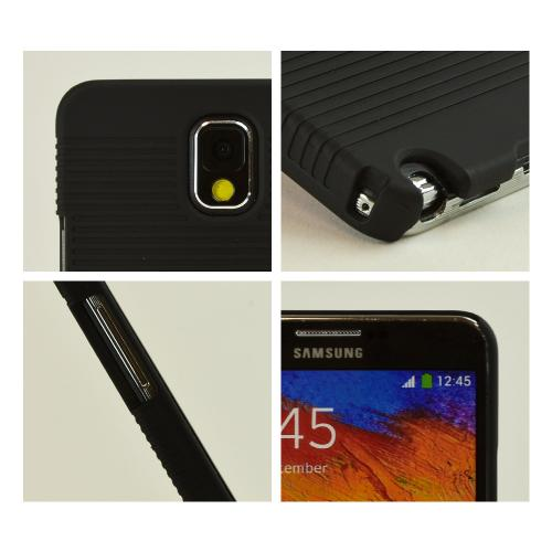 Black Rubberized Hard Case Holster Combo w/ Kickstand & Belt Clip for Samsung Galaxy Note 3