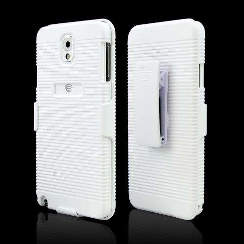 White Rubberized Hard Case Holster Combo w/ Kickstand & Belt Clip for Samsung Galaxy Note 3