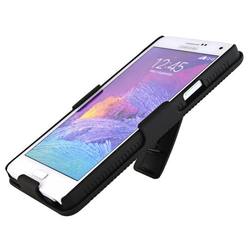 Samsung Galaxy Note 4 Case, [Black]  Supreme Protection Slim Matte Rubberized Hard Plastic Case Cover with Kickstand and Swivel Belt Clip