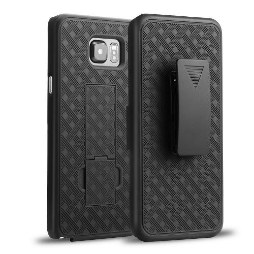Samsung Galaxy Note 5 Holster Case, [Black] Supreme Protection Slim Rubberized Plastic Case w/ Holster & Belt Clip