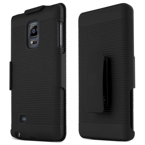 Galaxy Note Edge Heavy Duty Case [Black] Featuring Hard Polycarbonate Case + Holster Combo with Kickstand & Swivel Belt Clip