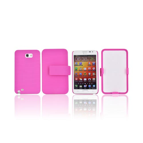 Samsung Galaxy Note Rubberized Hard Case w/ Holster & Kickstand - Pink