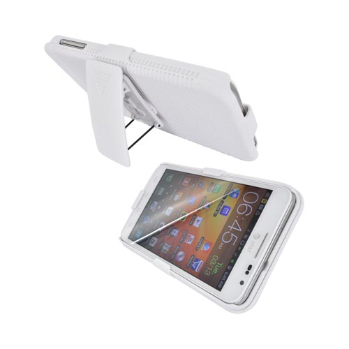 Samsung Galaxy Note Rubberized Hard Case w/ Holster & Kickstand - White
