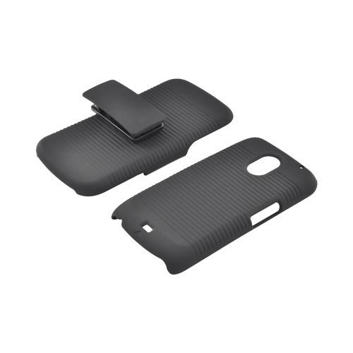 Samsung Galaxy Nexus Rubberized Hard Case w/ Holster Stand - Black