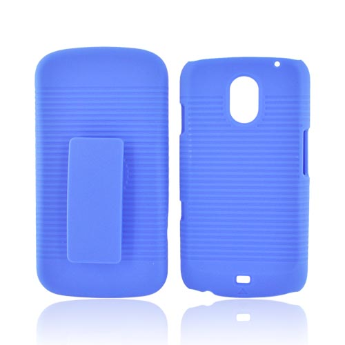Samsung Galaxy Nexus Rubberized Hard Case w/ Holster Stand - Blue