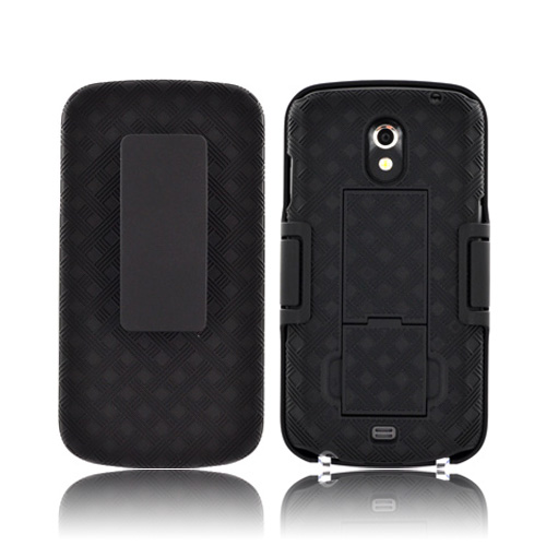 Samsung Galaxy Nexus Textured Rubberized Hard Kickstand Case w/ Holster & Belt Clip - Black