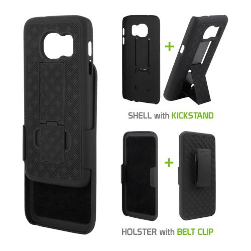 [Samsung Galaxy S7] Holster Case, REDshield [Black] Supreme Protection Slim Matte Rubberized Hard Plastic Case Cover with Kickstand and Swivel Belt Clip