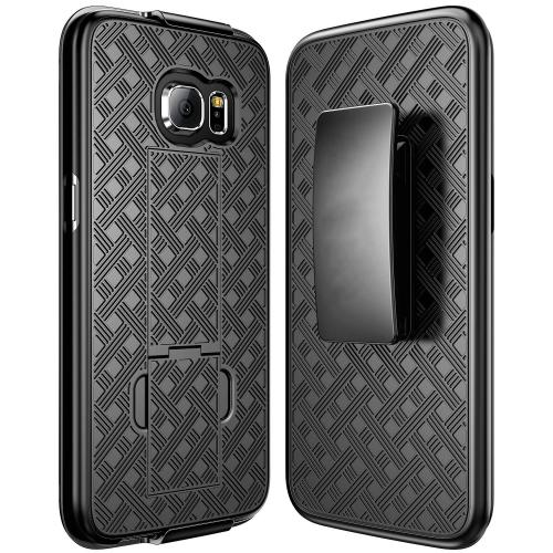 Samsung Galaxy S7 Edge Holster Case, REDshield [Black] Supreme Protection Slim Matte Rubberized Hard Plastic Case Cover with Kickstand and Swivel Belt Clip