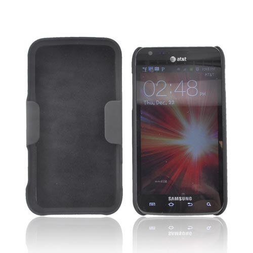 Samsung Galaxy S2 Skyrocket Rubberized Hard Case w/ Holster Stand - Black