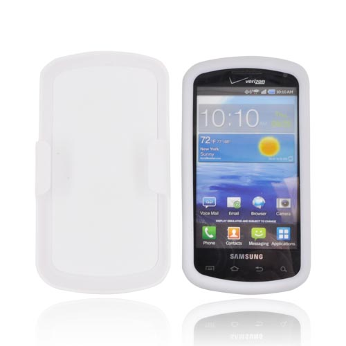 Samsung Stratosphere i405 Rubberized Hard Case w/ Holster Stand - White