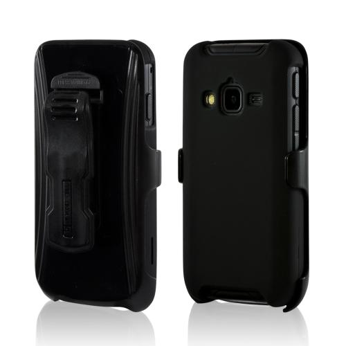 Manufacturers Black Rubberized Hard Case & Holster Combo w/ Stand & Belt Clip for Samsung Galaxy Rugby Pro Cases