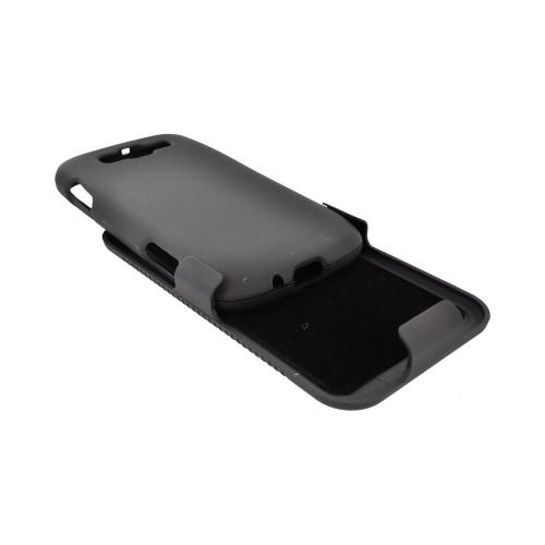 Samsung Focus 2 Rubberized Hard Case & Holster Stand w/ Swivel Belt Clip - Black