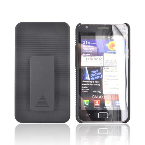 AT&T Samsung Galaxy S2 Rubberized Hard Case & Holster Combo - Black