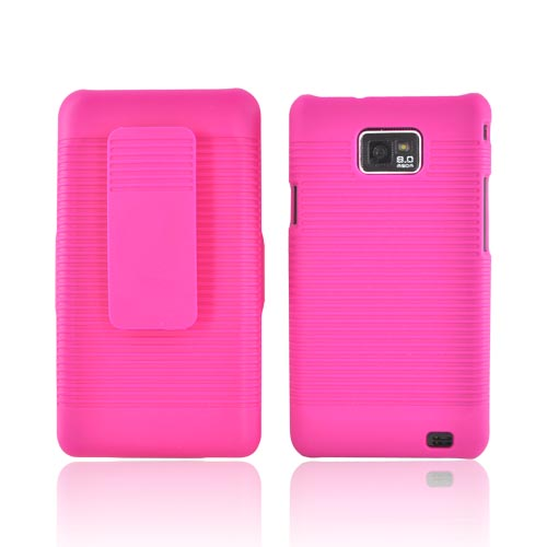 AT&T Samsung Galaxy S2 Rubberized Hard Case w/ Holster Stand - Hot Pink