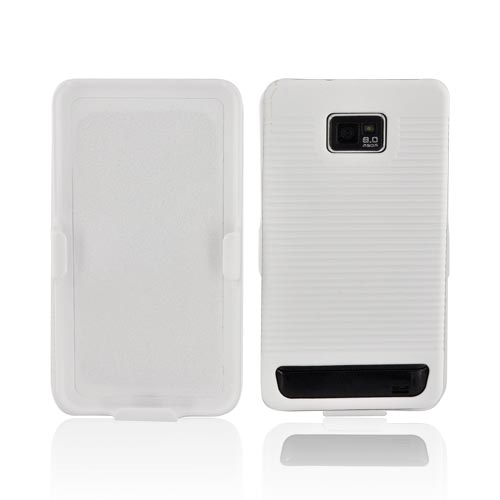 AT&T Samsung Galaxy S2 Rubberized Hard Case w/ Holster Stand - Solid White