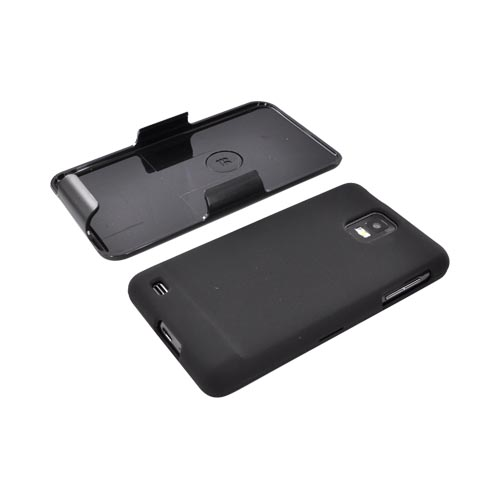 Premium Samsung Infuse i997 Rubberized Hard Case w/ Screen Protector & Holster - Black/ Clear