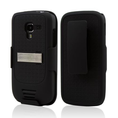 Samsung Exhilarate i577 Rubberized Hard Case and Holster w/ Kickstand & Swivel Belt Clip - Black