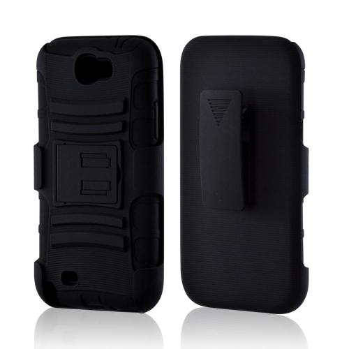 Black Rubberized Hard Cover On Silicone Case w/ Stand & Holster Stand w/ Swivel Belt Clip for Samsung Galaxy Note 2