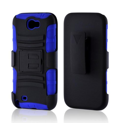 Black/ Blue Rubberized Hard Cover On Silicone Case w/ Stand & Holster Stand w/ Swivel Belt Clip for Samsung Galaxy Note 2